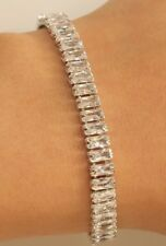 14K White Gold Elegant High Fashion 3.25CT Emerald Cut Diamond Tennis Bracelet