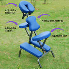 "Portable Massage Chair 3""Foam Beauty Tattoo Facial Spa Health Blue+Free Bag"