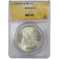 1878 CC Morgan Dollar MS 62 ANACS 90% Silver $1 US Coin Collectible