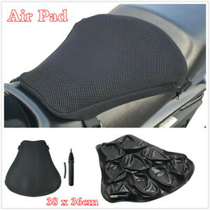Size XL Black Motorcycle Seat Cushion Air Pad w/3D Mesh Cover&Inflatable Pump