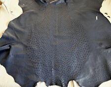 NEW Grade A 100% Genuine Ostrich Skin Finished Leather (Dark blue) (16.25 Sqft)