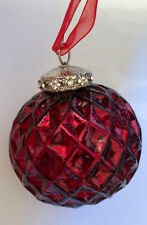 6 Tinsel & Fir RED JEWELED MERCURY GLASS CHRISTMAS ORNAMENTS. SET of 6.