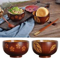 Natural Wood Bowl Cereal Dessert Pasta Rice Soup Sauce Wooden Bowls 2 Design