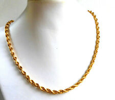 Men Chain Necklace 24K Yellow Gold Plated 4mm Twist Rope 50cm Lobster Clasp UK