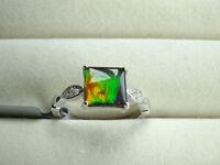 Certified AA Grade Ammolite 8MM & Zircon Sterling Silver Ring Size N-O/7 RP £230