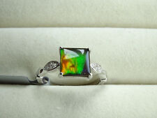 Genuine AA Canadian Ammolite & White Zircon 925 Sterling Silver Ring Size N-O/7