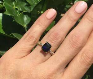 2Ct Emerald Cut Blue Sapphire Solitaire Engagement Ring 14K Yellow Gold Finish
