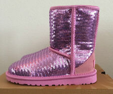 Girls Kids Youth Size 2 UGG Pink Classic Short Sparkles Dress Winter Boots