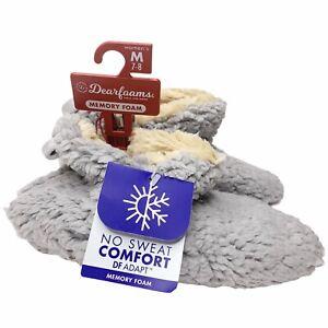 Dearfoams Chelsea Sherpa Booties M 7-8 Slippers Gray Comfort Memory Foam NEW