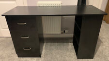 Black Computer Desk With Drawers And Shelves