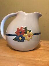 New listing Tender Heart Treasures Ceramic White Pitcher Flower Milk Blue Stripe Spring