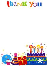 Pack Of 20 Open Thank You Notes & Envelopes - Bright Cake, Present & Party Hat