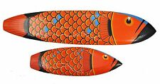 2 Wooden Signs I Surfboard Style 100cm And 56cm Dragon Fish Wall Arowana