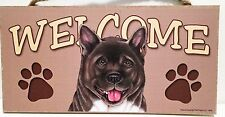 Welcome Akita Dog Breed Wood Sign Plaque New
