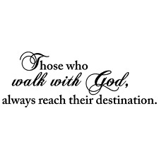 WALK WITH GOD QUOTE VINYL WALL DECAL STICKER ART-CHRISTIAN HOME DECOR