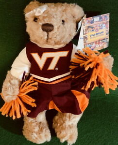 "VIRGINIA TECH UNIVERSITY 2007 College MASCOT 10"" Plush Cheerleader PLUSH w/Tags!"