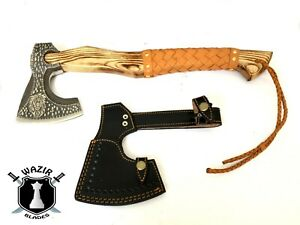 Custom Gift Forged Carbon Steel Viking Axe with Wood Shaft, Viking Axe Hunting