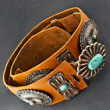 Massive Vintage Native American, Silver & Turquoise Concho Leather Belt, 44""