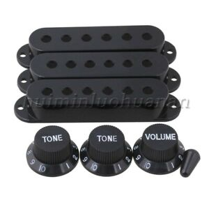 Plastic Switch Tip Single Coil Pickup Cover 1V2T Knob Guitar Accessory Set Black