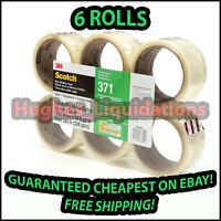 """CHEAPEST! 6 Rolls 3M Scotch 371 48mm X 50m (2"""" x 55 yards) Clear Shipping Tape"""