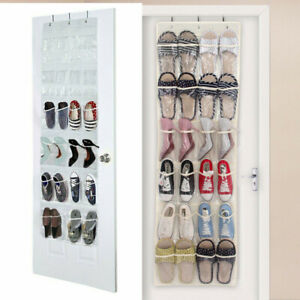 Cabinet Organizer Pantry Closet The Door Shoe 24 Pocket Clear Over White