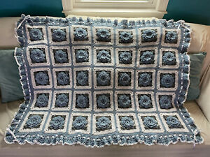 Country Blue And Gray Ruffles and Roses Afghan - Crocheted Throw Bedspread