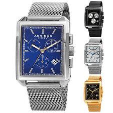 Men's Akribos XXIV AK918 Chronograph Date Stainless Steel Mesh Rectangular Watch