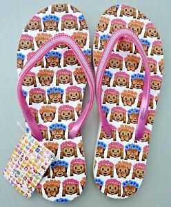 Emoji Affen Damen Flip Flops Sandalen Zehentrenner Badeschuhe 40-42 Pink Primark