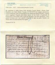 1852 19 NOV BELLA LETT DELLA FAM CORSINI DIRETTA A RM (PONTIFICIO) CON RARO BOLL