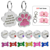 Name Tags for Dogs Personalized Paw Bone Round Glitter Dog Collar Tag Engraved