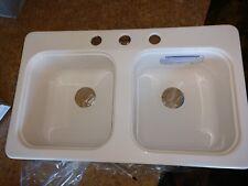 "RV Mobilehome Lyons  Acrylic Double Bowl Kitchen Sink 17''x29''x 7"""