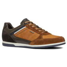 Geox Renan B Mens Blue Brown Grey Black Leather Trainers Shoes Size 8-10.5