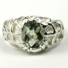 Green Amethyst (Prasiolite), 925 Sterling Silver Men's Ring, SR168-Handmade