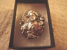 """Henryk Winograd Vintage ART NOUVEAU REPOUSSE Japanese Geisha 999 Silver"""""""