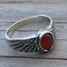 Eagle Wing Ring .925 Sterling Silver small Sz 5 w/ Natural Carnelian gemstone