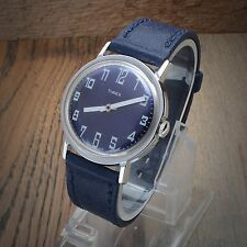 Vintage Timex  Mens Wind Up Watch 34mm Blue and White Dial Runs Original Band