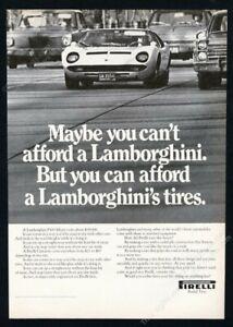 1970 Lamborghini Miura photo Pirelli tires vintage print ad