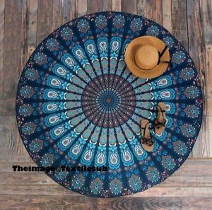 Indian Blue Peacock Mandala Round Tapestry Hippie Dorm Décor Round Beach Mats UK
