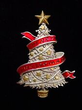 """JJ"" Jonette Jewelry Silver Pewter 'Merry Christmas' Banner Tree Pin"