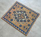 """Vintage Distressed Small Area Rug Hand Knotted Oushak Rugs Yastik -1'11""""x2'2'"""