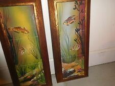 VINTAGE HAND PAINTED FISH ON TILES NAUTICAL FRAMED PAINTING SCULPTURE SIGNED ART