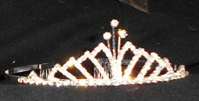 NEW SILVER METAL RHINESTONE TIARA CRYSTAL DANCE Wedding Pageant  stacked points