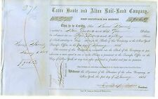 1850's Terre Haute & Alton Railroad Company Stock Certificate Pre Civil War
