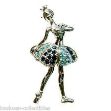 w Swarovski Crystal ~Blue BALLERINA~ BALLET DANCER Princess Girl Pin Brooch Xmas