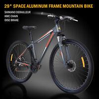 """29"""" Aluminum Frame Men's Mountain Bike 21 Speed Shimano Bicycle Grey & Orange"""
