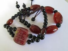set lot 2 Bracelets Chinese Characters symbol letters agate stone natural beads