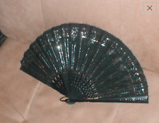 Antique 1920's French beaded Black Silk Hand Fan