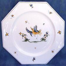 Assiette octogonale plate peint main art en FAIENCE de MOUSTIERS