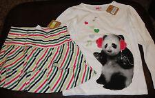 Crazy 8 panda bear in headphones music top striped skort skirt NWT 5 6 school