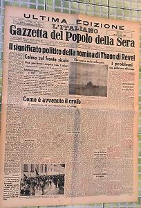 WW2@ DIMISSIONI DI MUSSOLINI R@RO 28-29/LUGLIO/1943
